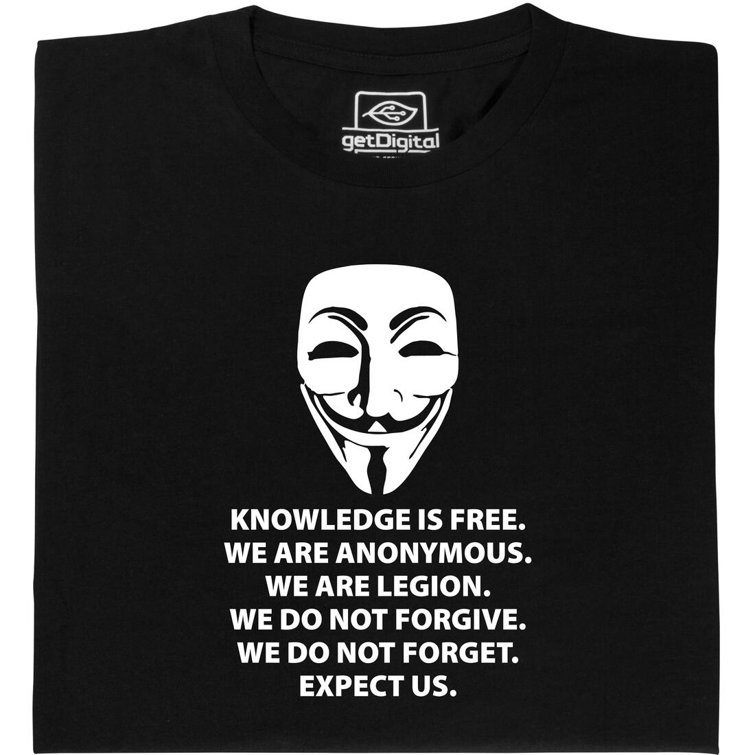 Knowledge Is Free T-shirt Guy we are Fawkes Anonymous informaticien Hacker