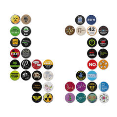 Lot de 42 badges geek